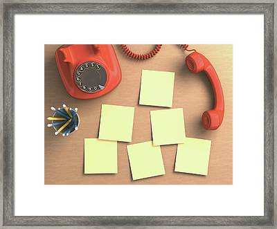 Red Telephone And Sticky Notes Framed Print by Ktsdesign