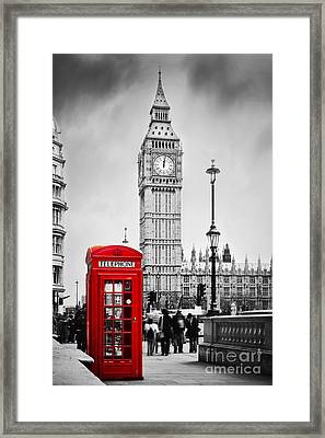 Red Telephone Booth And Big Ben In London Framed Print