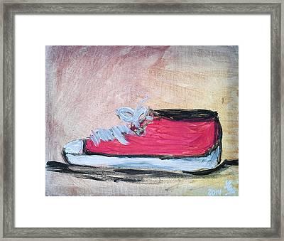 Red Tennis Shoe Framed Print
