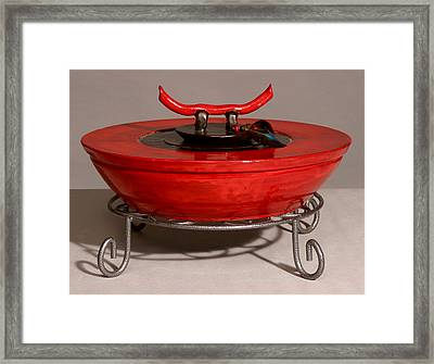 Red Tibetan Vessel Framed Print by Beth Gramith
