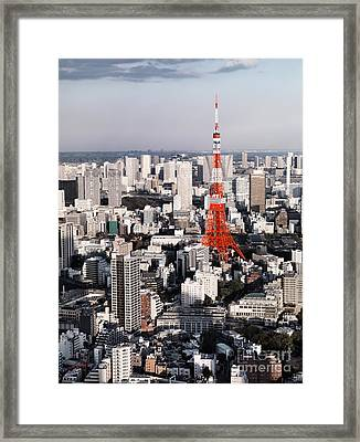 Red Tokyo Tower Surrounded By Tokyo City Buildings Framed Print