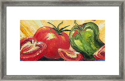 Red Tomato And Green Pepper Framed Print by Paris Wyatt Llanso