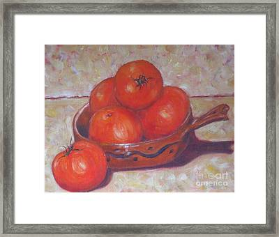 Red Tomatoes In A Dish Framed Print by Paris Wyatt Llanso