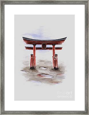 Red Torii Japanese Temple Gate. Framed Print