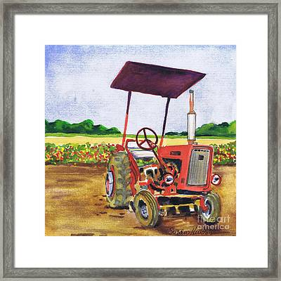Red Tractor At Rottcamp's Farm Framed Print by Susan Herbst