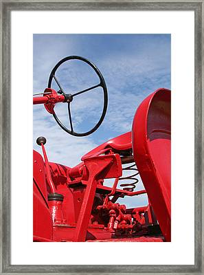 Red Tractor Framed Print by Heather Allen