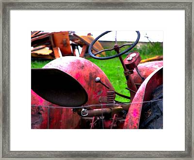 Red Tractor Rural Photography Framed Print by Laura Carter