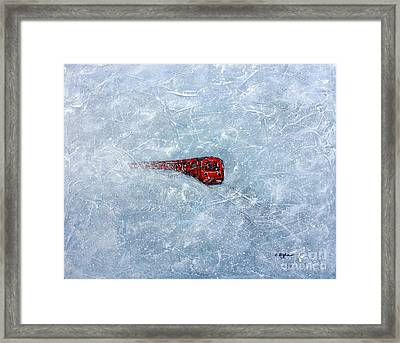 Red Train Braving The Winter Framed Print