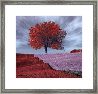 Framed Print featuring the painting Red Tree In A Field by Bruce Nutting