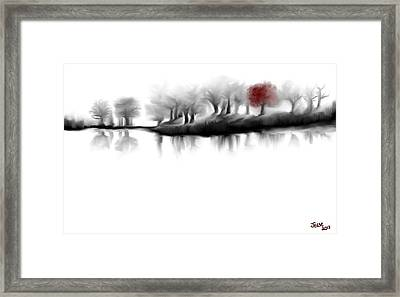 Red Tree Framed Print by Jessica Wright