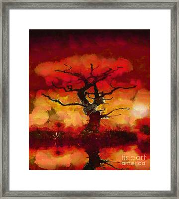 Red Tree Of Life Framed Print by Pixel Chimp