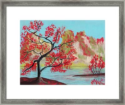 Red Trees Framed Print by Anastasiya Malakhova