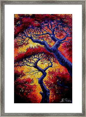 Red Trees Framed Print by Sebastian Pierre