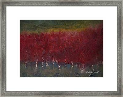 Red Trees Watercolor Framed Print