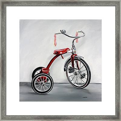 Framed Print featuring the painting Red Tricycle 1 by Gail Chandler