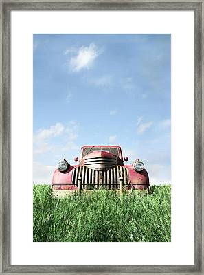 Red Truck Framed Print by Cynthia Decker