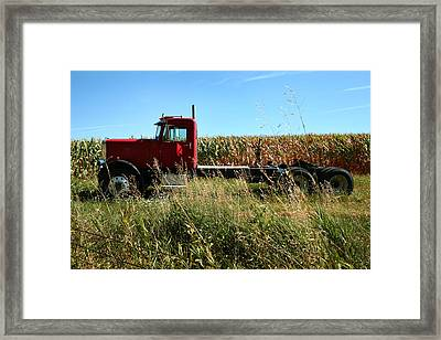 Red Truck In A Corn Field Framed Print by Lon Casler Bixby