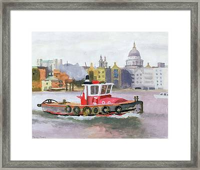 Red Tug Passing St. Pauls, 1996 Framed Print by Terry Scales