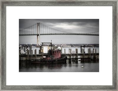 Red Tugboat And Newport Bridge II Framed Print