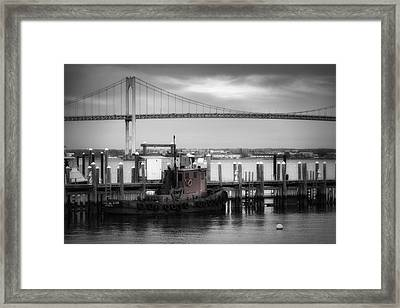 Red Tugboat And Newport Bridge Framed Print