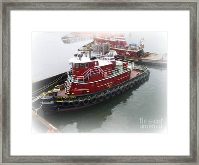 Framed Print featuring the photograph Red Tugboat by Kristine Nora