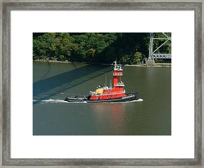 Red Tugboat Framed Print by Phyllis Tarlow