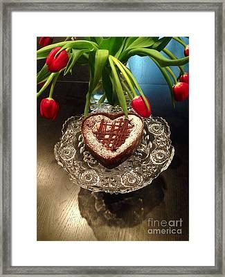 Red Tulip And Chocolate Heart Dessert Framed Print by Susan Garren