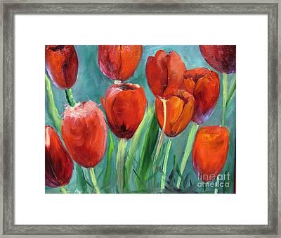 Red Tulips By Barbara Haviland Framed Print