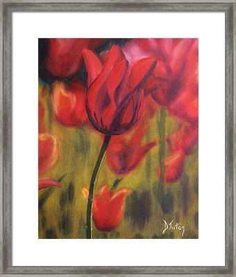 Framed Print featuring the painting Red Tulips by Donna Tuten