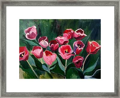 Red Tulips In A Baker's Dozen Framed Print by Betty Pieper