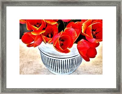 Red Tulips In Vintage Vase Framed Print