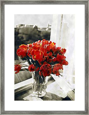 Red Tulips In Window Framed Print by Linda  Parker