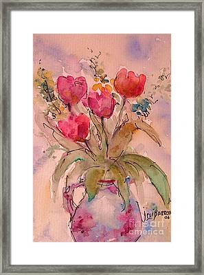 Red Tulips Framed Print by Jessamine Barron