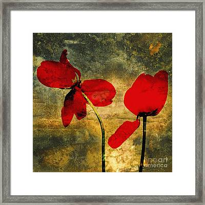 Red Tulips On A Textured Background Framed Print