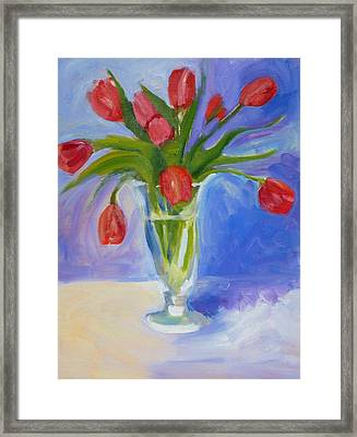 Red Tulips Framed Print by Valerie Lynch