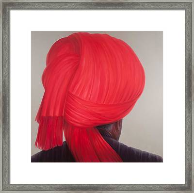 Red Turban, 2012 Acrylic On Canvas Framed Print by Lincoln Seligman