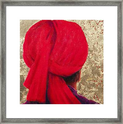 Red Turban On Gold Leaf, 2014 Oil On Canvas With Gold Leaf Framed Print by Lincoln Seligman