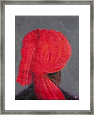 Red Turban On Grey, 2014 Oil On Canvas Framed Print by Lincoln Seligman