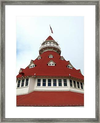 Framed Print featuring the photograph Red Turret - Hotel Del Coronado by Connie Fox