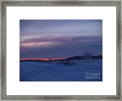 Red Twilight Glow In Milford Township Framed Print