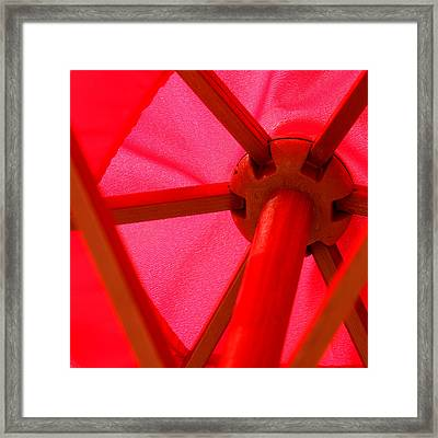 Red Umbrella Framed Print by Art Block Collections
