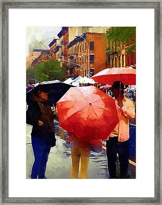 Red Umbrellas In The Rain Framed Print by RC deWinter