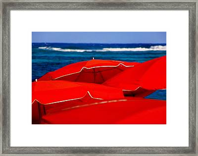 Red Umbrellas  Framed Print by Karen Wiles