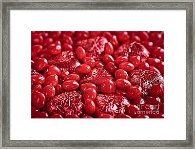 Red Valentine Candy Hearts Framed Print