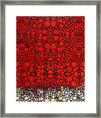 Red Valley - Abstract Landscape Stone Rock'd Art Framed Print by Sharon Cummings