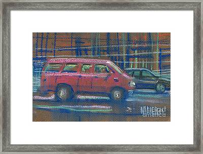 Framed Print featuring the painting Red Van by Donald Maier