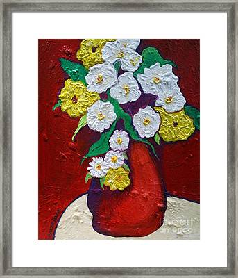 Red Vas With Yellow And White Flowers Framed Print
