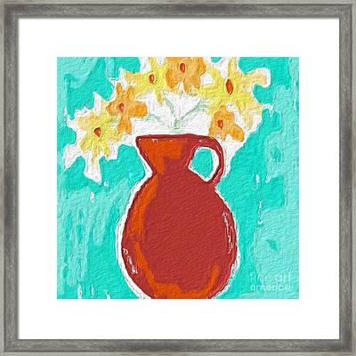 Red Vase Of Flowers Framed Print by Linda Woods
