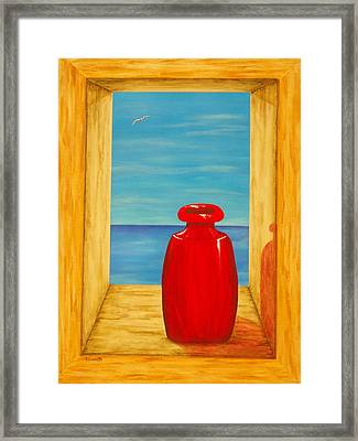 Red Vase Framed Print by Pamela Allegretto