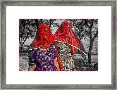 Red Veils In Rajasthan Framed Print